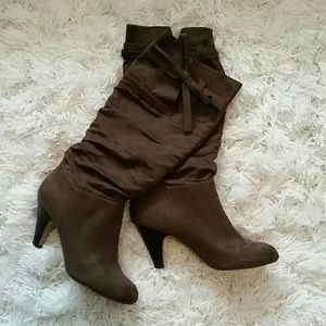 Just Fab Brown Suede Slouch Boots, Size 9.